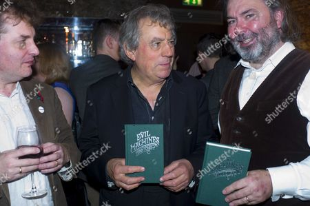 The Launch of 'Evil Machines' by Terry Jones the First Book to Be Crowd-funded by Readers and Published by Unbound Co Uk at the Adam Street Club Adam Street the Strand London Tthe Founders of Unbound Books Justin Pollard Terry Jones & John Mitchinson