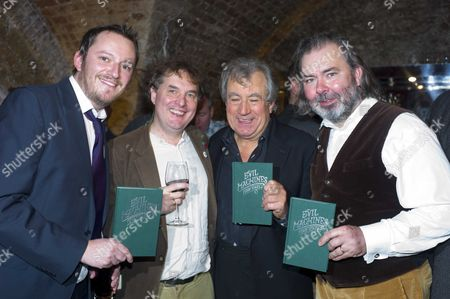 The Launch of 'Evil Machines' by Terry Jones the First Book to Be Crowd-funded by Readers and Published by Unbound Co Uk at the Adam Street Club Adam Street the Strand London Tthe Founders of Unbound Books Dan Kieran Justin Pollard Terry Jones & John Mitchinson
