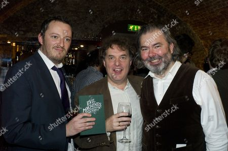 The Launch of 'Evil Machines' by Terry Jones the First Book to Be Crowd-funded by Readers and Published by Unbound Co Uk at the Adam Street Club Adam Street the Strand London Tthe Founders of Unbound Books Dan Kieran Justin Pollard & John Mitchinson