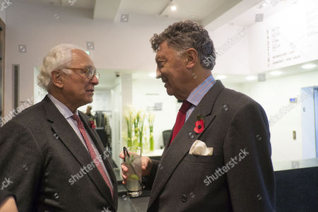 The Launch of Terence Donovan Fashion at the Photographers Gallery Ramillies Street London Sir Evelyn De Rothschild with William Shawcross