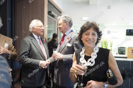 The Launch of Terence Donovan Fashion at the Photographers Gallery Ramillies Street London Sir Evelyn De Rothschild with William Shawcross and His Wife Olga Forte