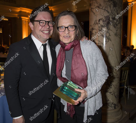 The Man Booker International Prize at the Victoria and Albert Museum Brompton Road West London This Years Winner Lydia Davis with Her Publisher Simon Prosser