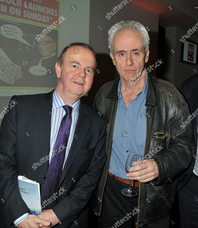 Guardian Journalist Nick Davies ( C ) Receives the Paul Foot Award For Campaigning Journalism From Private Eye Editor Ian Hislop (l) at Bafta Piccadilly London