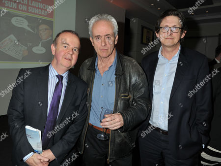 Guardian Journalist Nick Davies ( C ) Receives the Paul Foot Award For Campaigning Journalism From Private Eye Editor Ian Hislop (l) at Bafta Piccadilly London On the Right is Guardian Editor Alan Rusbridger