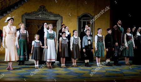 The Sound of Music Press Night at the Open Air Theatre Regents Park London Michael Xavier (captain Von Trapp) & Charlotte Wakefield (maria Rainer) and Cast at the Curtain Call