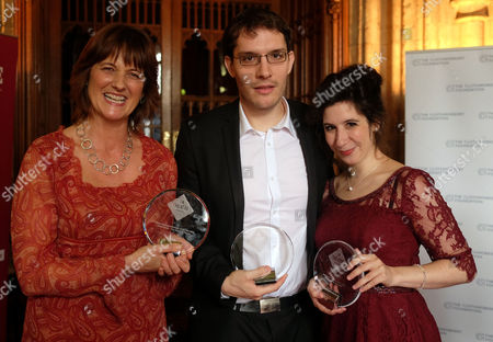 The Uk Theatre Awards at the Guildhall City of London Hedda Beeby with Her Award For Theatre Employee/manager of the Year Robert Icke with the Best Director Award & Jenna Augen with the Best Supporting Performance