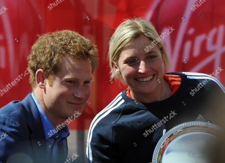The Virgin London Marathon Finish On the Mall Westminster London Prince Harry Poses with Shelly Woods