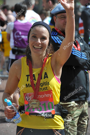 The Virgin London Marathon Finish On the Mall Westminster London Tana Ramsay Who Came 12623 in 04:06:44 Hrs Waits For Her Husband Gordaon Ramsey at the Finish