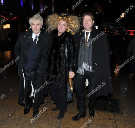 Wedding and Party For the Wedding of Jessica De Rothschild and Sacha Gervasi at the Liberal Jewish Synagogue in St John's Wood and the Criterion Restaurant Piccadilly London Nick Rhodes with Katrina Boorman & Her Husband Danny Moynihan