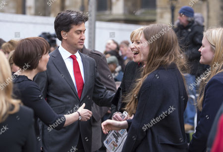 Tony Benn's Funeral at St Margaret's Church Westminster London Ed & Justine Miliband and Melissa Benn Gordon with Her Daughters Hannah and Sarah