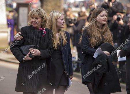 Tony Benn's Funeral at St Margaret's Church Westminster London Melissa Benn Gordon with Her Daughters Hannah and Sarah