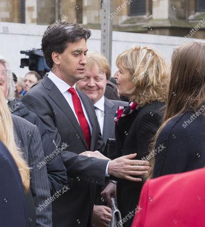 Tony Benn's Funeral at St Margaret's Church Westminster London Ed Miliband and Melissa Benn Gordon