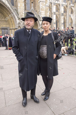 Tony Benn's Funeral at St Margaret's Church Westminster London George Galloway and His Wife Putri Gayatri Pertiwi