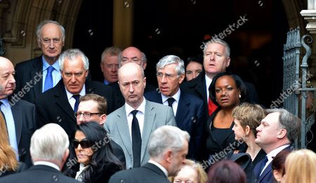 Tony Benn's Funeral at St Margaret's Church Westminster London Sir George Young Mp Peter Hain Mp Jack Straw Mp Diane Abbott Mp & Yvette Cooper Mp with Ed Balls Mp