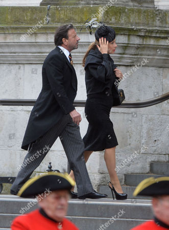 Stock Photo of True Blue Lady Thatcher's Funeral at St Pauls Cathedral Sir Rocco & Lady Forte