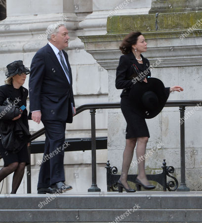 Stock Photo of True Blue Lady Thatcher's Funeral at St Pauls Cathedral Lord Conrad Black & His Wife Barbara Amiel