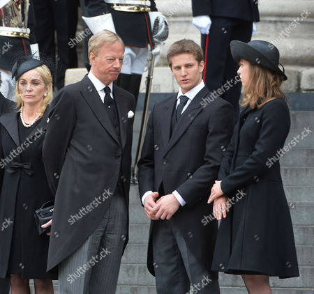 Stock Image of True Blue Lady Thatcher's Funeral at St Pauls Cathedral Sarah Thatcher Sir Mark Thatcher Michael Thatcher Amanda Thatcher