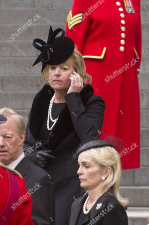 Stock Image of True Blue Lady Thatcher's Funeral at St Pauls Cathedral Carol Thatcher