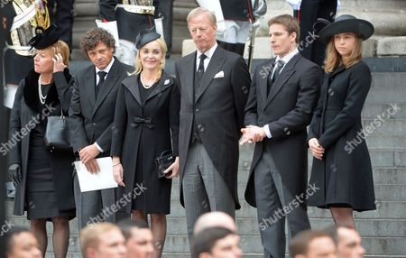 Stock Image of True Blue Lady Thatcher's Funeral at St Pauls Cathedral Carol Thatcher Marco Grass Sarah Thatcher Sir Mark Thatcher Michael Thatcher Amanda Thatcher