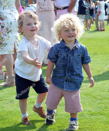 Stock Picture of Veuve Clicquot British Open Polo Championships Gold Cup Final at Cowdray Park Polo Club Midhurst West Jack Kidd with His Sister Jody Kidd's Sons