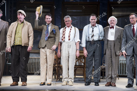 12 Angry Men Press Night at Garrick Theatre Charing Cross Road and After Party at the Waldorf Hilton Hotel Aldwych London the Curtain Call Miles Richardson Nick Moran Martin Shaw Jeff Fahey and Robert Vaughn