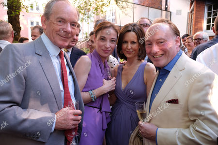 The Spectator Magazine Summer Party at Their Office in Old Queen Street Westminster London Simon Jenkins and Hannah Kaye with Andrew and Susan Roberts