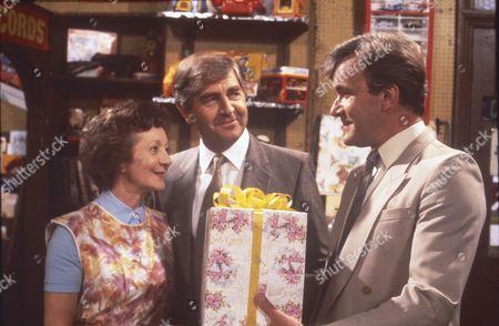 Thelma Barlow (as Mavis Riley) Peter Baldwin (as Derek Wilton) and Martyn Read (as Carl Stanton)
