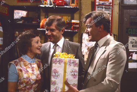 Stock Picture of Thelma Barlow (as Mavis Riley) Peter Baldwin (as Derek Wilton) and Martyn Read (as Carl Stanton)