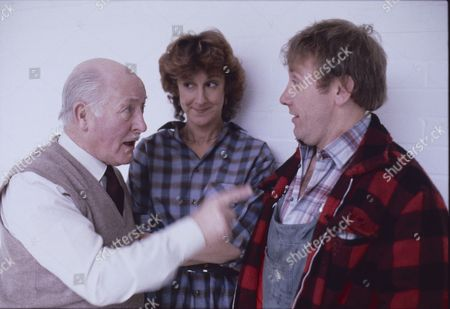 Stock Photo of Bill Waddington (as Percy Sugden) Judy Gridley (as Elaine Prior) and Peter Armitage (as Bill Webster)