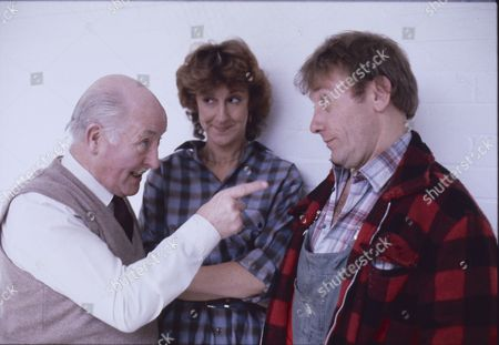 Stock Picture of Bill Waddington (as Percy Sugden) Judy Gridley (as Elaine Prior) and Peter Armitage (as Bill Webster)
