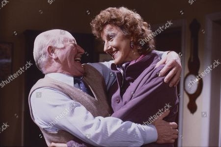 Stock Image of Bill Waddington (as Percy Sugden) and Judy Gridley (as Elaine Prior)