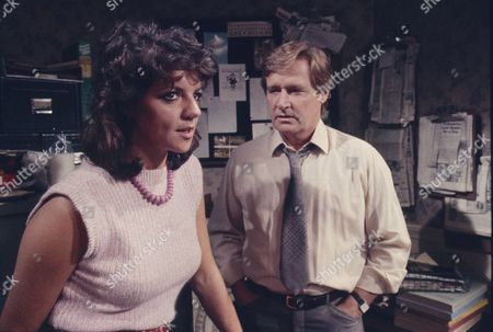Vikki Chambers (as Sally Waterman) and William Roache (as Ken Barlow)