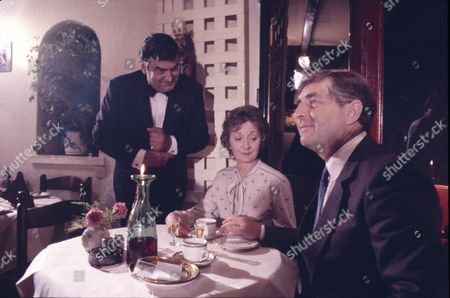 Ray Marioni (as Leonardo) Thelma Barlow (as Mavis Riley) and Peter Baldwin (as Derek Wilton)