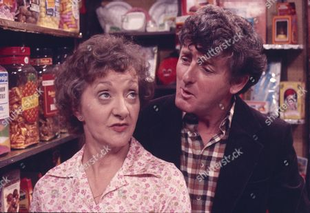 Thelma Barlow (as Mavis Riley) and Christopher Coll (as Victor Pendlebury)