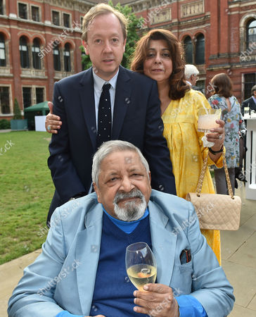 London, England, 22th June 2016: Geordie Greig with V. S. Naipaul and His Wife Nadira at the V&a Summer Party, London On the 22nd June 2016.
