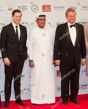 Jake Lacy, Chairman for Dubai film festival Abdulhamid Jumaa and John Madden