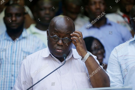 Nana Akufo-Addo, opposition presidential candidate for the New Patriotic Party, speaks during a press conference in Accra Ghana, . The election is largely between two veteran politicians, incumbent President John Dramani Mahama and main opposition leader Nana Akufo-Addo