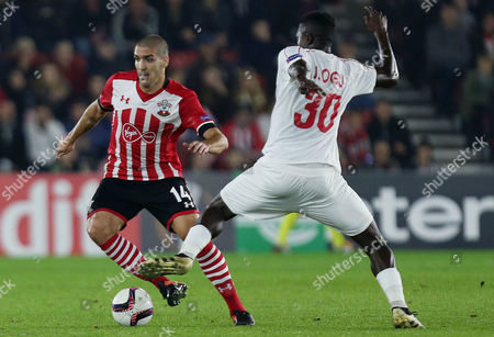 Oriol Romeu of Southampton and John Ogu of Hapoel Beer Sheva during the UEFA Europa League Group K match between Southampton and Hapoel Beer Sheva played at St Mary's Stadium, Southampton on 8th December 2016