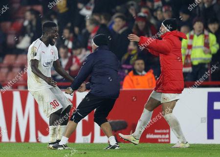 John Ogu of Hapoel Be'er Sheva celebrates after the game. Southampton v Hapoel Be'er Sheva, UEFA Europa League - Group K