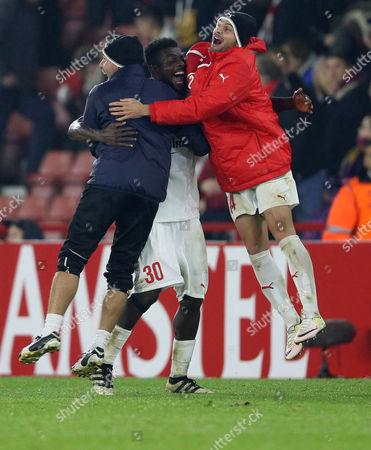 John Ogu of Hapoel Be'er Sheva celebrates after winning the game. Southampton v Hapoel Be'er Sheva, UEFA Europa League - Group K