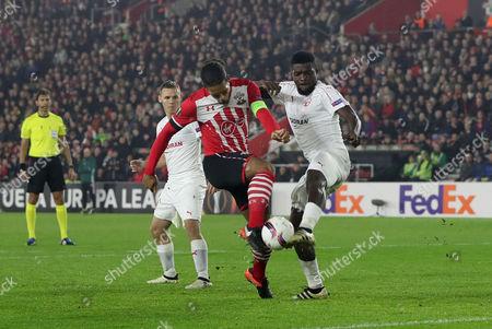 Virgil van Dijk of Southampton is blocked by John Ogu of Hapoel Be'er Sheva. Southampton v Hapoel Be'er Sheva, UEFA Europa League - Group K