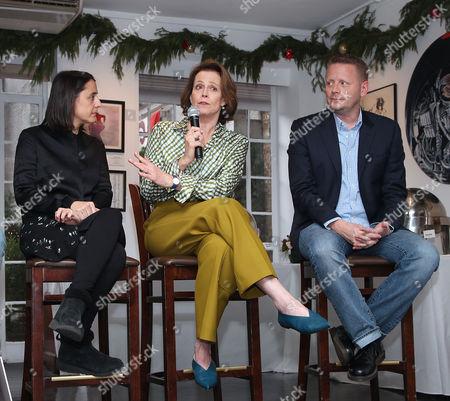 Belen Atienza, Sigourney Weaver and Patrick Ness