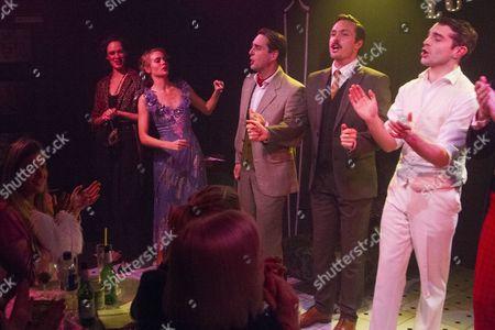 Ellen Francis (Jordan Baker), Cressida Bonas (Daisy Buchanan), Bradley Clarkson (Meyer Wolfsheim), Morgan Val Baker (Nick Carraway) and Ludovic Hughes (Jay Gatsby) during the curtain call