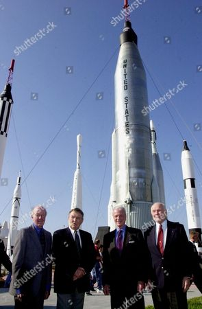 Four space pioneers pose for a photo in the Rocket Garden at the Kennedy Space Center (KSC) at Cape Canaveral, Florida Visitor Complex. From left are Gordon Cooper, Wally Schirra, Scott Carpenter and John H Glenn Jr. The occasion was the celebration of the 40th anniversary of American spaceflight. The event was held..