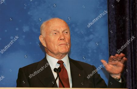 Stock Photo of Former astronaut and United States Senator John H. Glenn Jr. (Democrat of Ohio, retired) compares early space flight to present day pursuits while addressing the crowd gathered for Space Day activities at the National Air and Space Museum's Steven F. Udvar-Hazy Center in Chantilly, Virginia. His words came shortly before the presentation of NASA's 2004 class of astronaut candidates..Mandatory