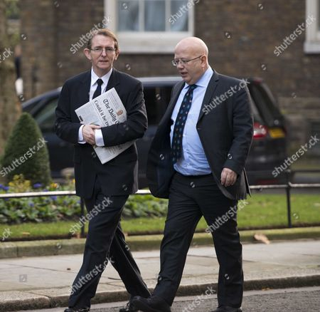 Arrivals For National Newspapers Editors at Number 10 Downing Street Westminster London Daily Telegraph Tony Gallagher & the Independent Chris Blackhurst
