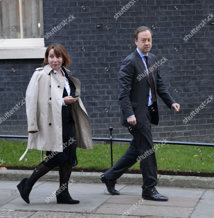 National Newspapers Editors Leave Number 10 Downing Street After Their Meeting with Culture Minister Maria Miller Westminster London Sarah Sands and Geordie Greig