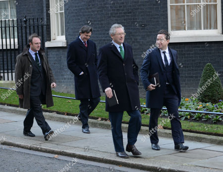 National Newspapers Editors Leave Number 10 Downing Street After Their Meeting with Culture Minister Maria Miller Westminster London James Harding the Times ( L ) Dominic Mohan the Sun ( R )