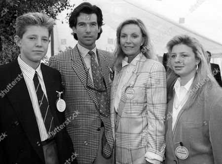 Cartier Polo at Smiths Lawn Pierce Brosnan with His Wife Cassandra Harris and Her Children Christopher and Charlotte