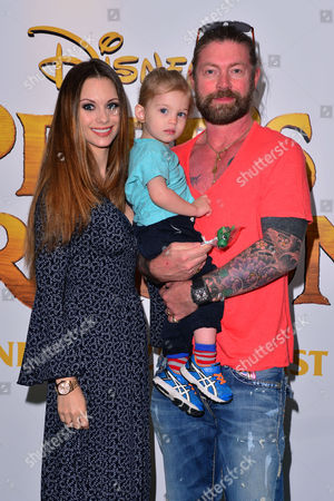 London, England, 31st July: Lee Stafford with His Wife Jessica Jane Clement and Son Angel at the Gala Screening of Disney 'pete's Dragon' at the Hamyard Hotel in London On the 31st July 2016.